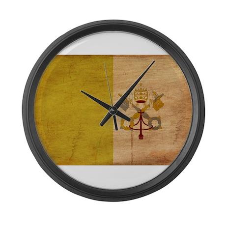 Vatican City Flag Large Wall Clock