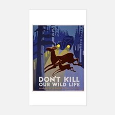 Wild Life WPA Poster Sticker (Rectangle)
