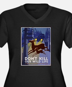 Wild Life WPA Poster Women's Plus Size V-Neck Dark