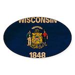 Wisconsin Flag Sticker (Oval 50 pk)