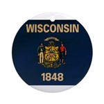 Wisconsin Flag Ornament (Round)