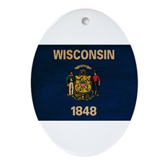 Wisconsin Flag Ornament (Oval)