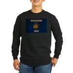 Wisconsin Flag Long Sleeve Dark T-Shirt