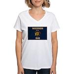 Wisconsin Flag Women's V-Neck T-Shirt