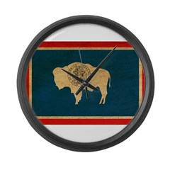 Wyoming Flag Large Wall Clock
