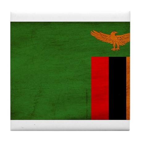 Zambia Flag Tile Coaster