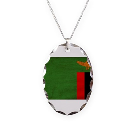 Zambia Flag Necklace Oval Charm