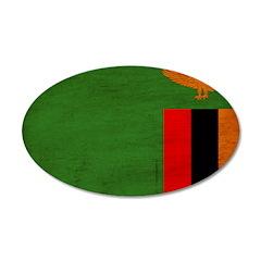 Zambia Flag 38.5 x 24.5 Oval Wall Peel