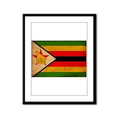 Zimbabwe Flag Framed Panel Print
