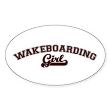 Wakeboarding girl Oval Decal