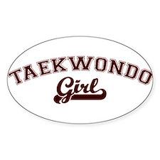Taekwondo girl Oval Decal