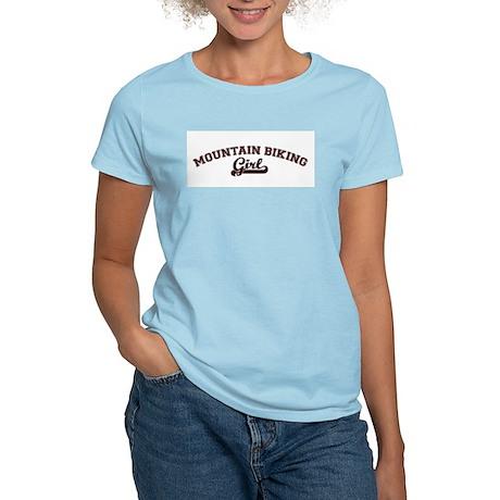 Mountain Biking girl Women's Pink T-Shirt