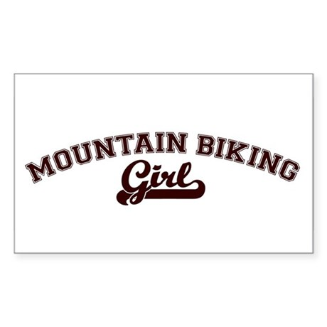Mountain Biking girl Rectangle Sticker
