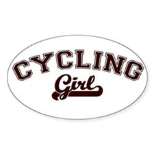 Cycling girl Oval Decal