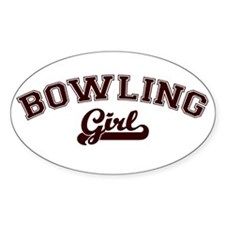 Bowling girl Oval Decal
