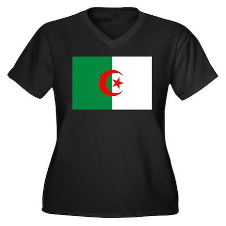 Algeria Flag Women's Plus Size V-Neck Dark T-Shirt