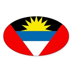 Antigua and Barbuda Flag Sticker (Oval 10 pk)