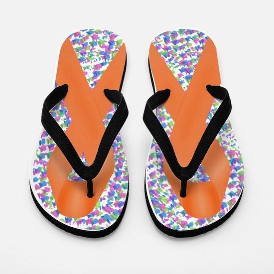 Orange Awareness Ribbon Flip Flops
