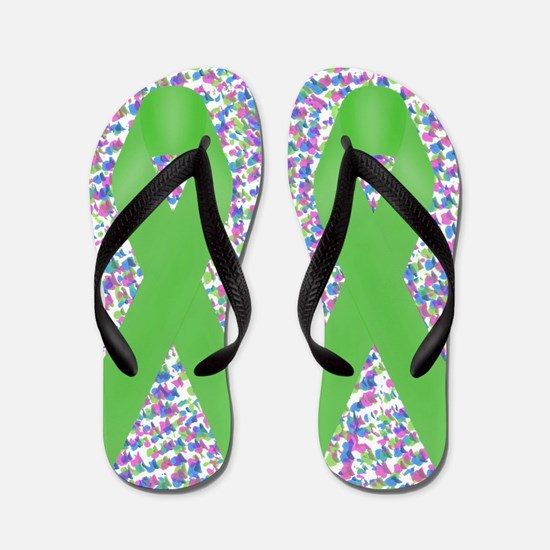 Green Awareness Ribbon Flip Flops