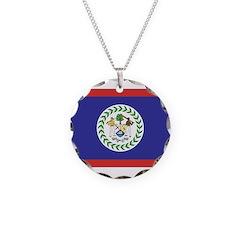 Belize Flag Necklace Circle Charm