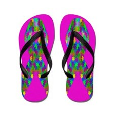 Puzzle Awareness Ribbon Flip Flops A