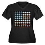 American Flag Creative Women's Plus Size V-Neck Da