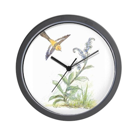 FORGET-ME-NOT WITH ORIOLE Wall Clock
