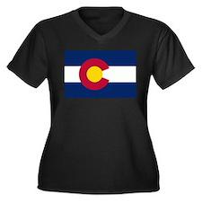 Colorado Flag Women's Plus Size V-Neck Dark T-Shir