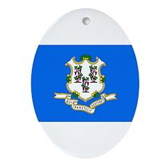 Connecticut Flag Ornament (Oval)