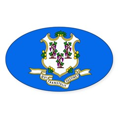 Connecticut Flag Sticker (Oval)