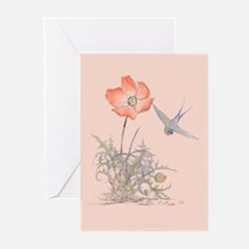 ORIENTAL POPPY WITH BIRD Greeting Cards (Package o