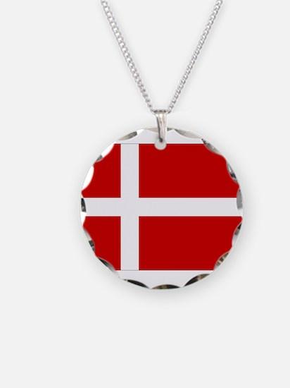 Denmark Flag Necklace Circle Charm