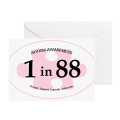1in88 Oval - Pink Greeting Cards (Pk of 10)