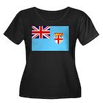 Fiji Flag Women's Plus Size Scoop Neck Dark T-Shir