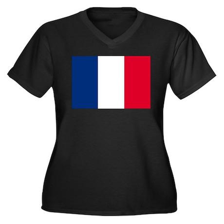 France Flag Women's Plus Size V-Neck Dark T-Shirt