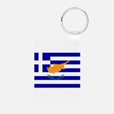Greek Cyprus Flag Aluminum Photo Keychain