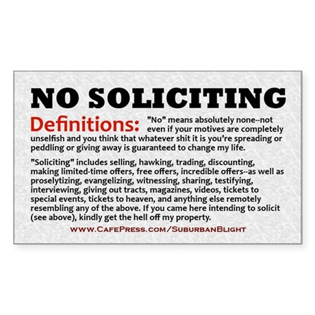 """No Soliciting Definitions"" Sticker (Rectangle)"