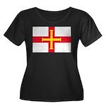 Guernsey Flag Women's Plus Size Scoop Neck Dark T-