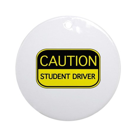 CAUTION Student Driver Ornament (Round)