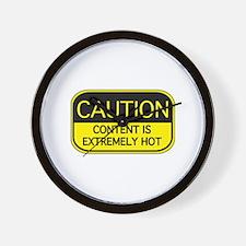 CAUTION Hot Content Wall Clock