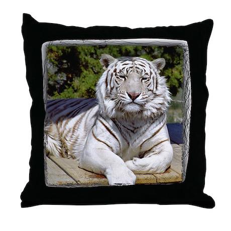 White Tiger 9 Throw Pillow