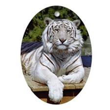 White Tiger 9 Oval Ornament