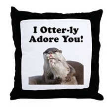 Otterly Adore Throw Pillow