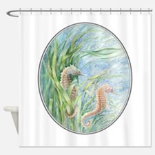 2 seahorses floating along Shower Curtain