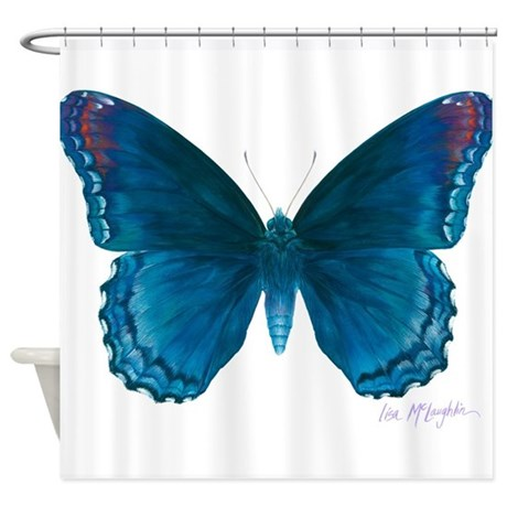 Big blue butterfly Shower Curtain