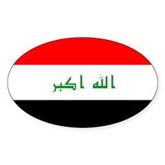 Iraq Flag Sticker (Oval)