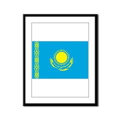 Kazakhstan Flag Framed Panel Print