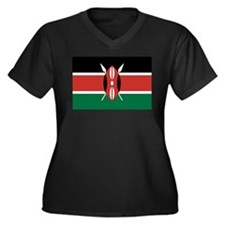 Kenya Flag Women's Plus Size V-Neck Dark T-Shirt