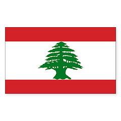 Lebanon Flag Sticker (Rectangle 50 pk)