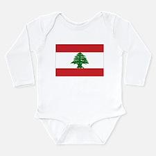 Lebanon Flag Long Sleeve Infant Bodysuit